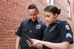 Officers on phone